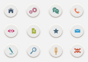 Computer Icons On Round White Buttons