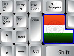 Computer Keyboard With Indian Flag Color Key 10