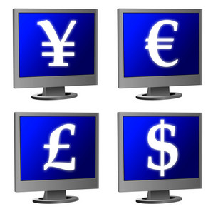 Computer Monitor With Currency Symbols
