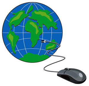 Computer Mouse Connected Globe Retro