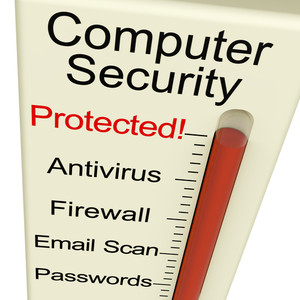 Computer Security Protected Meter Shows Laptop Internet Safety