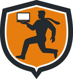 Computer Technician Carrying Laptop Running Shield