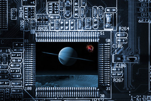 computers circuit-board and planets