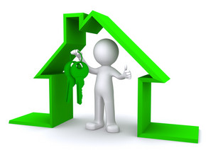 Concept Image Of A Character Holding A House Key Inside Miniature House Model
