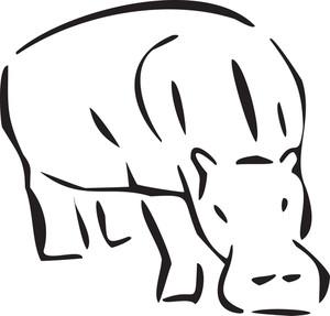 Concept Of Jungle With Hippopotamus.