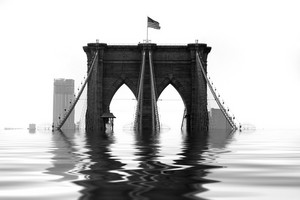 Conceptual illustration of the Brooklyn Bridge flooded with water due to natural disaster or global warming.