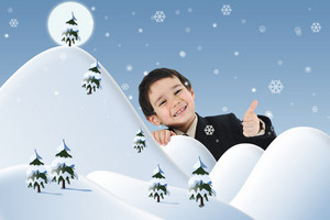 Conceptual photo combined with illustration. New year, winter and snow, child and happiness for your card.