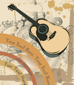 Concert Poster With Grunge And Guitar