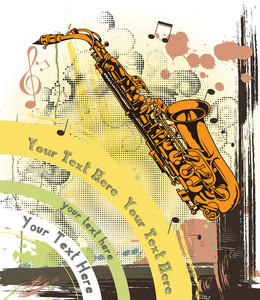 Concert Poster With Grunge And Saxophone
