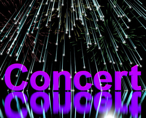 Concert Word On Stage With Firework Display