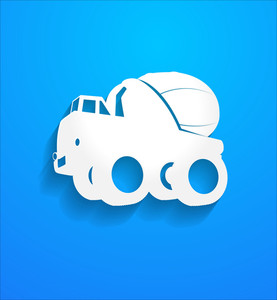 Concrete Mixer Truck Shape Vector