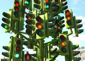 Confusing Traffic Lights At A Busy Intersection