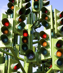Confusing Traffic Signals At A Busy Intersection