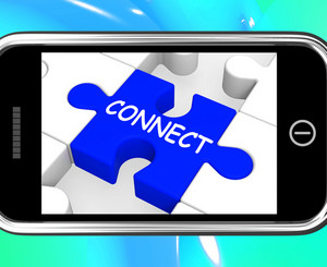Connect On Smartphone Showing Connected People