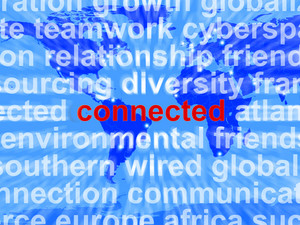Connected Word On Map Showing Global Networks And Connections