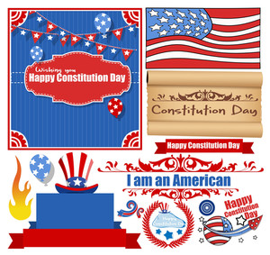 Constitution Day Celebration Design Vectors Set For America