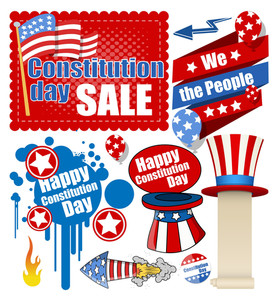 Constitution Day Celebration Design Vectors Set For Usa