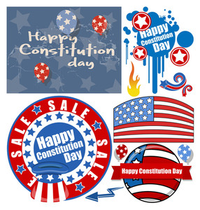 Constitution Day Patriotic Design Backgrounds & Elements Vectors Set For America