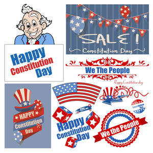 Constitution Day Patriotic Design Backgrounds Vectors Set For America