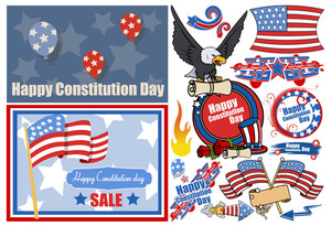 Constitution Day Patriotic Design Vectors Set For America