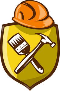 Construction Hardhat Hammer Paintbrush