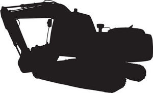 Construction Mechanical Digger Excavator Silhouette