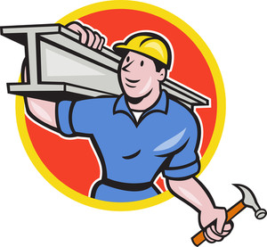 Construction Steel Worker Carry I-beam Circle Cartoon