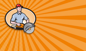 Construction Worker Concrete Saw Consaw Cartoon
