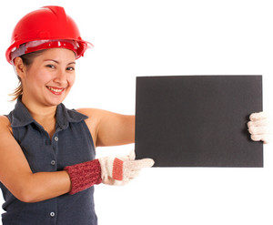Construction Worker Holding A Blank Board