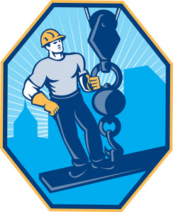 Construction Worker I-beam Girder Ball Hook