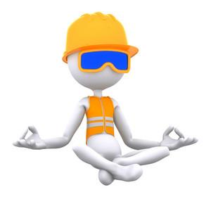 Construction Worker Meditating