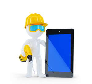 Construction Worker With Tablet Computer