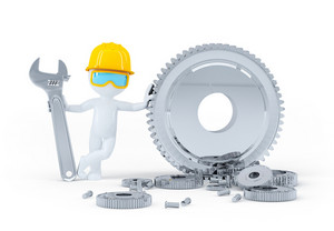 Construction Worker With Wrench And Gears