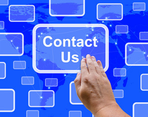 Contact Us Button On Blue For Helpdesk Or Assistance