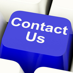 Contact Us Computer Key In Blue For Helpdesk Or Assistance