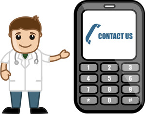 Contact Us - Doctor & Medical Character Concept