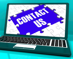 Contact Us On Laptop Shows Website Support And Assistance