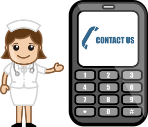 Contact Us Via Phone - Medical Cartoon Vector Character