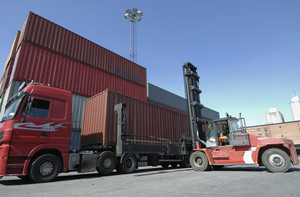 container forklift and shipping