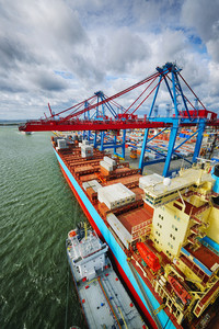 container port activities, aerial picture