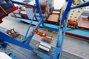 container port and crane in action