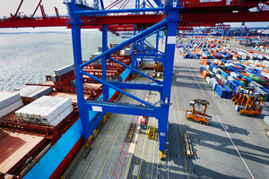 container port and crane loading container ship