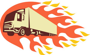 Container Truck And Trailer Flames Retro