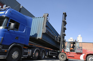 container trucks and port activity