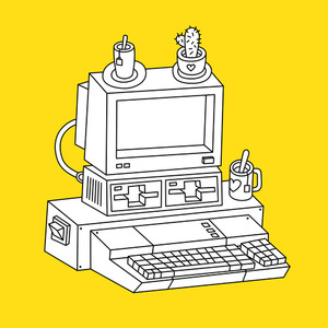 Contour Illustration Of Old Computer On Yellow Background