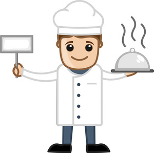 Cook With Food - Cartoon Business Vector Character