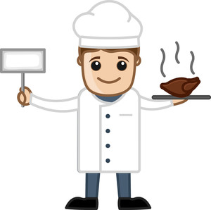 Cook With Meal - Cartoon Business Vector Character
