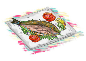 Cooked Fish Vector  Illustration