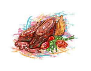 Cooked Food Vector  Illustration