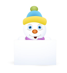 Cool Cute Snowman With Blank Ad Banner